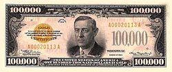 Series 1934 $100,000 bill, obverse