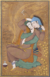 Abbasi's Painting of Two Lovers so tranquil and languid before the domestic violence of a battery or assault which in Tampa Bay, Florida could be resolved without either lover going to jail.