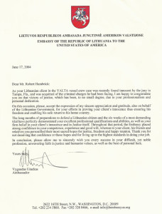 Letter of Praise & Thanks from Ambassador of Lithuania